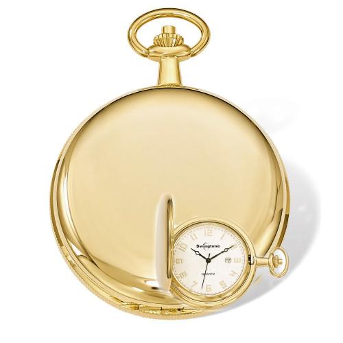 Swingtime Engravable Goldtone Brass Quartz Date Mens Pocket Watch