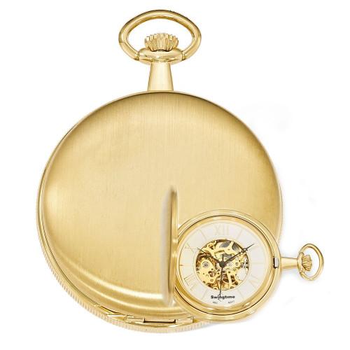 Swingtime Engravable Goldtone Brass Mechanical Mens Pocket Watch