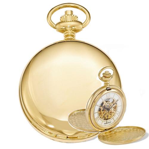 Swingtime Engravable Goldtone Brass Double Cover Mechanical Pocket Watch