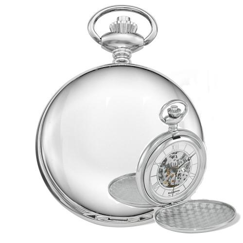 Swingtime Chrome Brass Double Cover Mechanical Pocket Watch