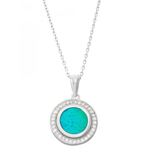 Sterling Silver 925 Created Opal Micro Pave CZ Pendant