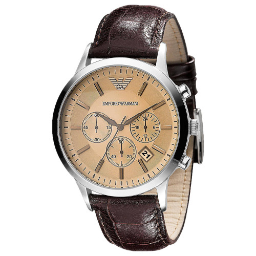 Emporio Armani AR2433 Classic Quartz Chronograph Brown Leather Mens Watch