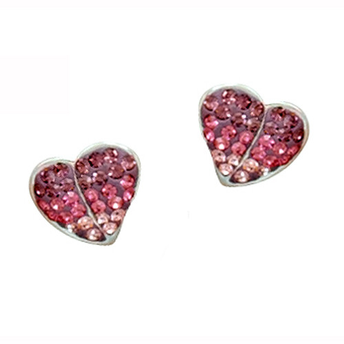 Sterling Silver Purple and Pink Crystal Heart Earrings - $28.97
