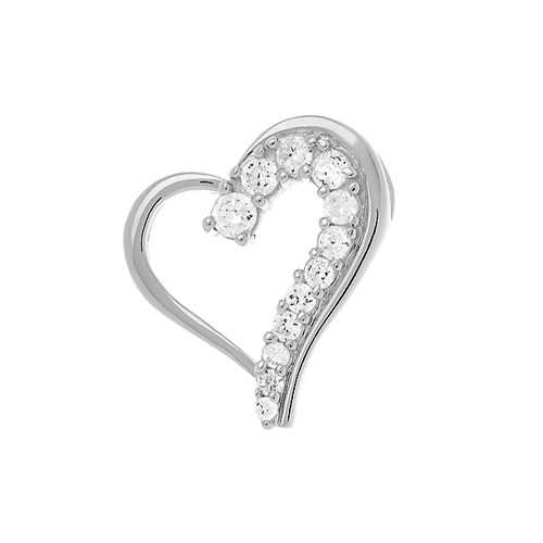 Sterling Silver 925 Journey of Love CZ Heart Pendant - $26.97