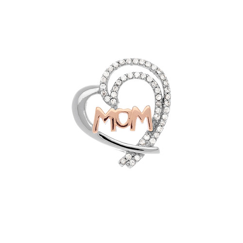 Sterling Silver 925 CZ Heart Rose Gold MOM Pendant