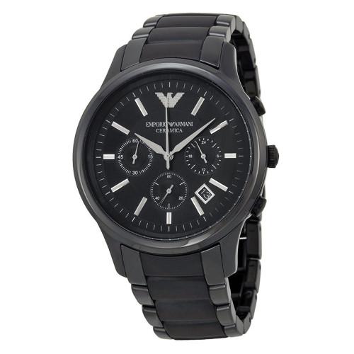 Emporio Armani AR1452 Ceramica 43mm Black Chronograph Mens Watch