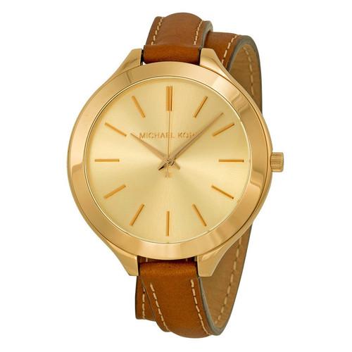 Michael Kors MK2256 Runway Goldtone Brown Wrap Around Leather Womens Watch