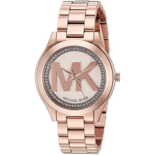 Michael Kors MK3549 Slim Runway Crystal Rose-Tone Stainless Steel Womens Watch