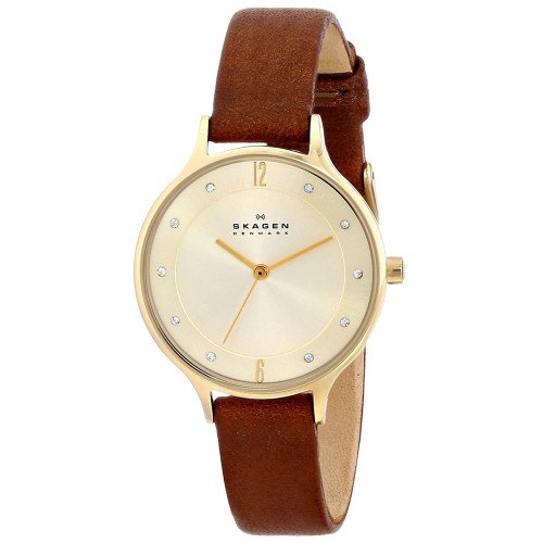 Skagen SKW2147 Anita Crystal Gold Dial Brown Leather Womens Watch