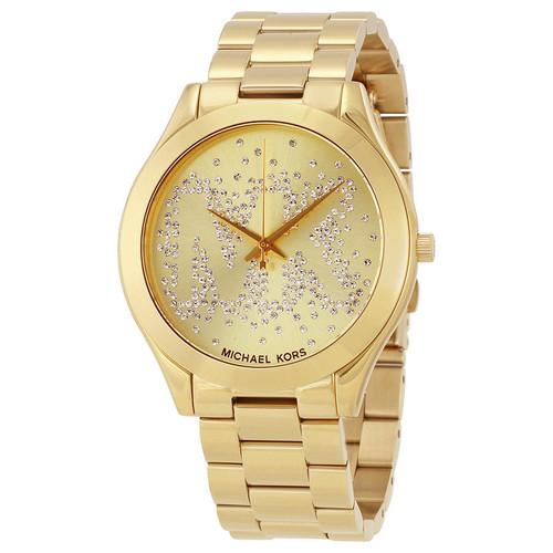 Michael Kors MK3590 Slim Runway Crystal Gold-Tone Stainless Steel Womens Watch