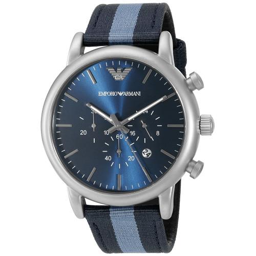 Emporio Armani AR1949 Luigi Chronograph Blue Nylon Mens Watch