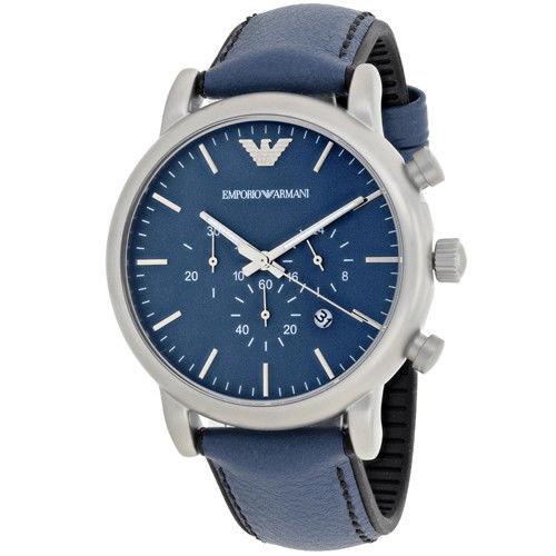 Emporio Armani AR1969 Luigi Chronograph Blue Leather Mens Watch