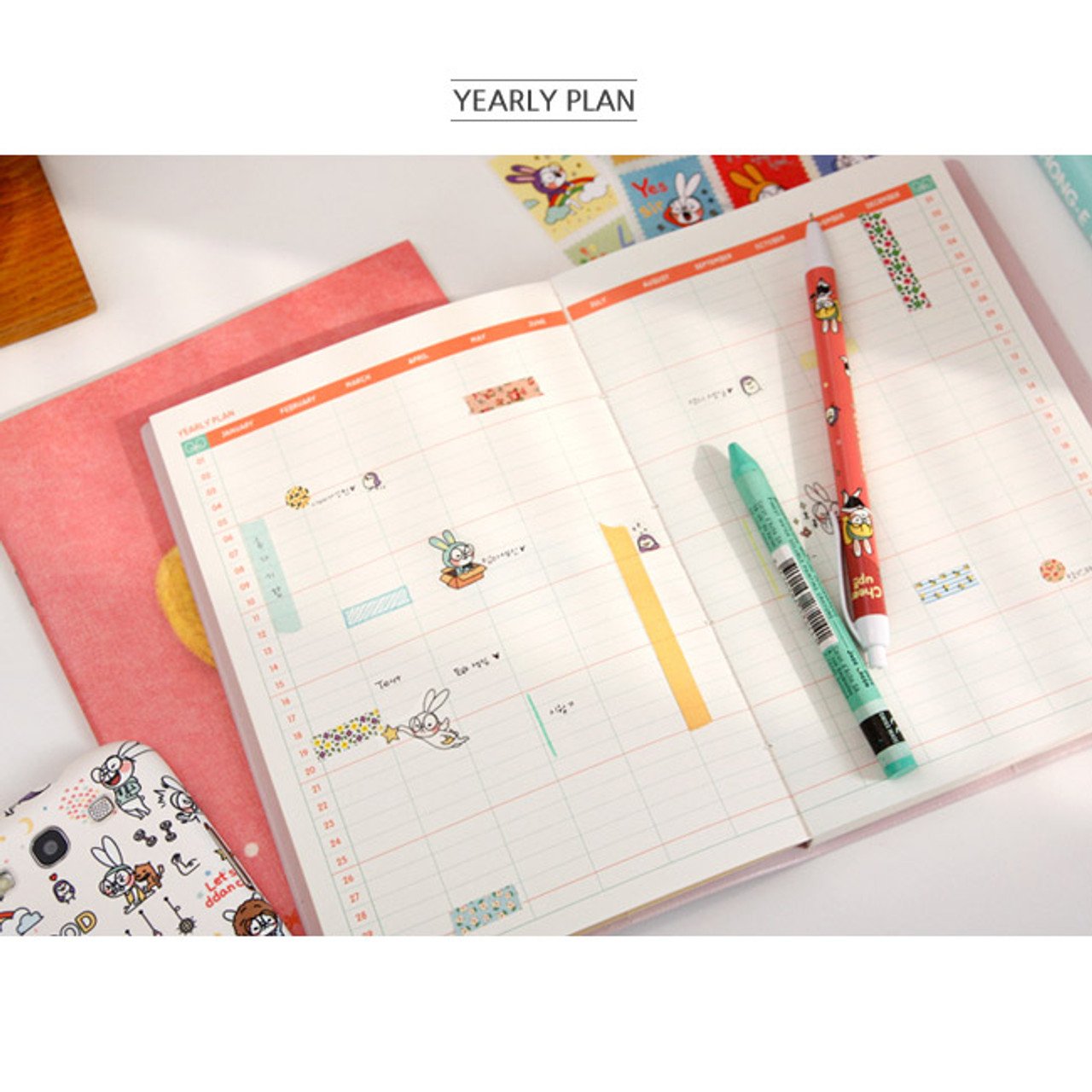 Wanna This cute character undated diary scheduler ver.3 ... - photo#47