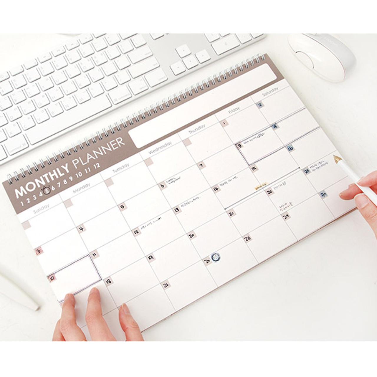 2young wirebound simple monthly desk planner scheduler fallindesign