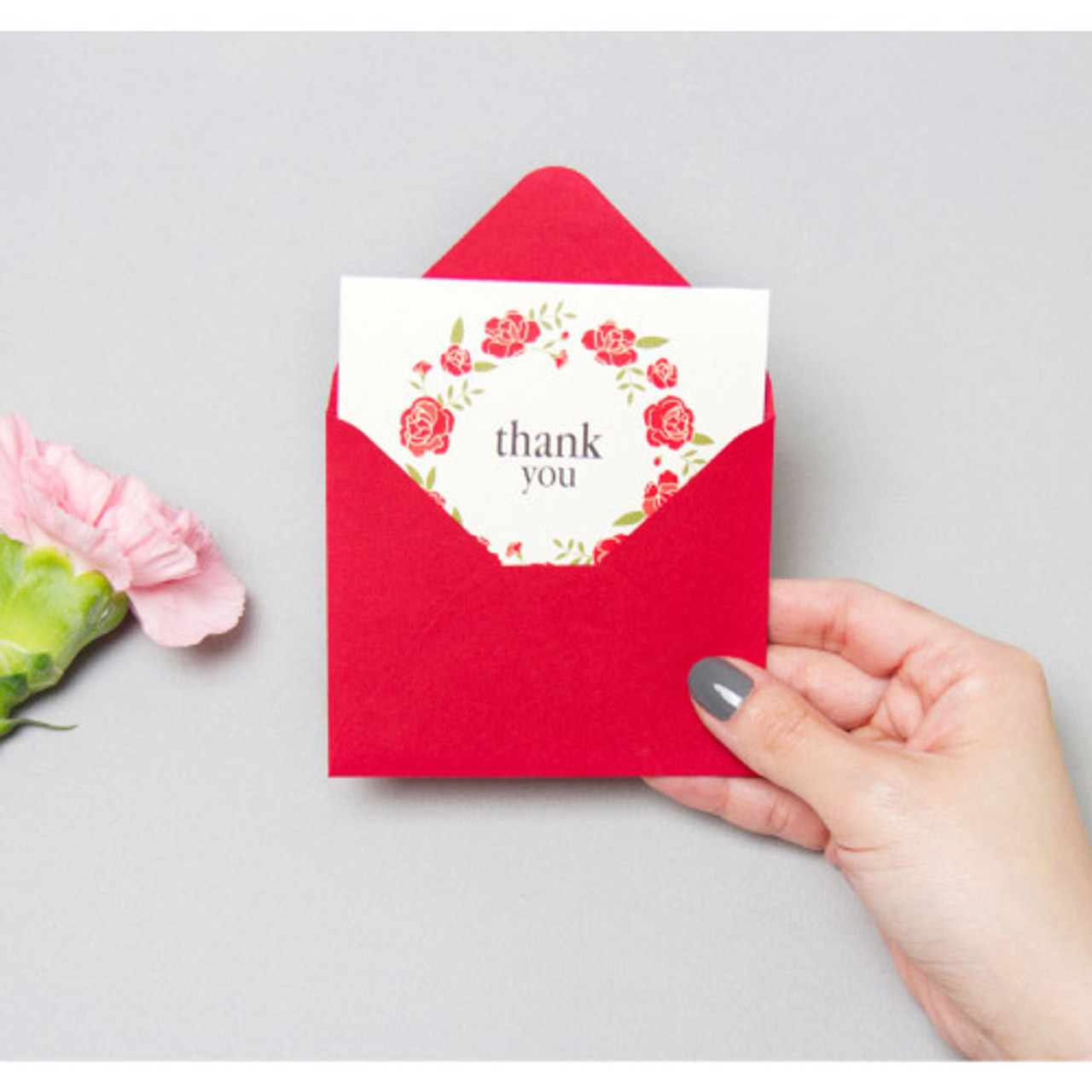 Dash And Dot Thank You Flower Wreath Message Card
