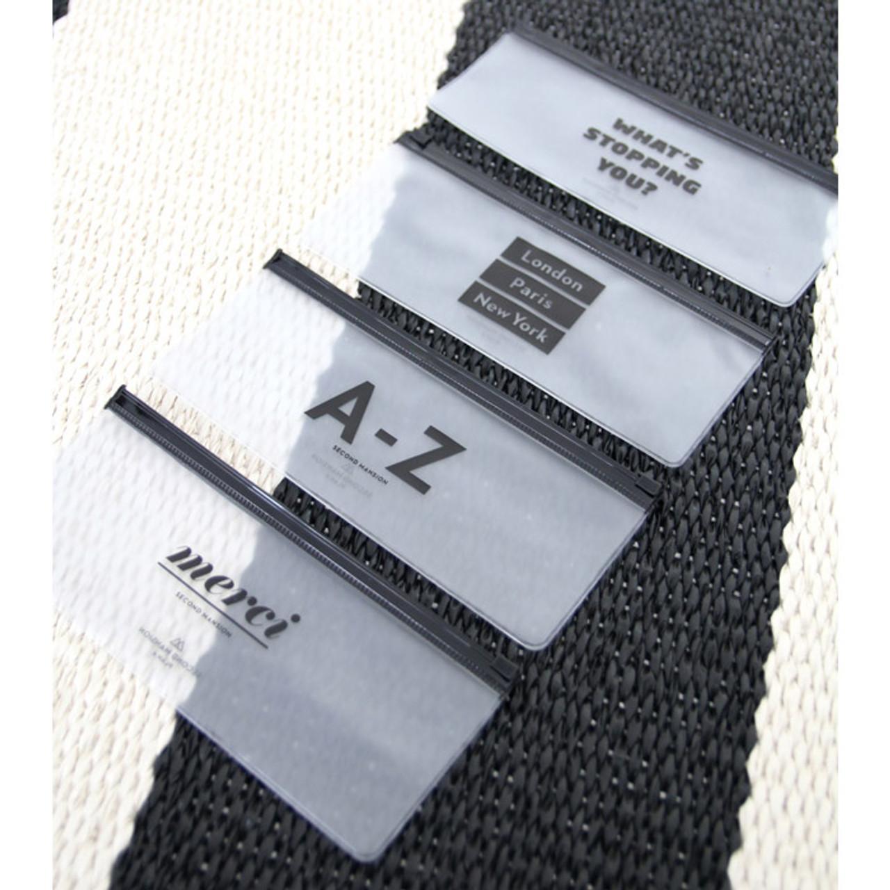 PlanD Black typo clear zip lock pouch slim - fallindesign.com