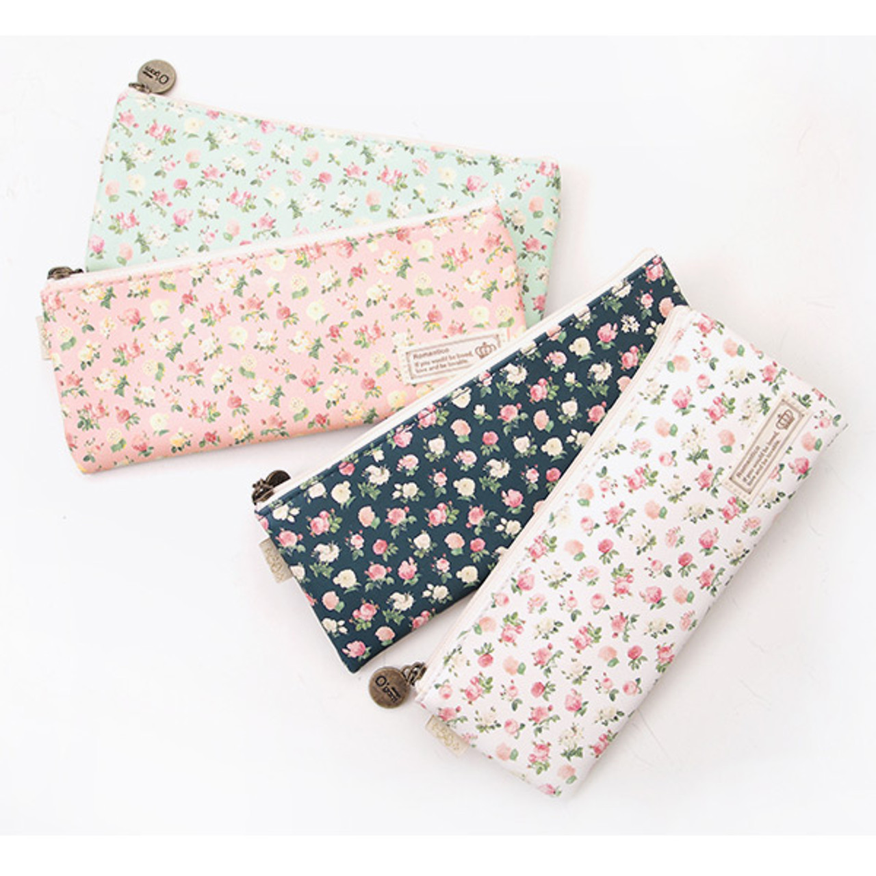 2young flower pattern flat zipper pencil case pouch fallindesign