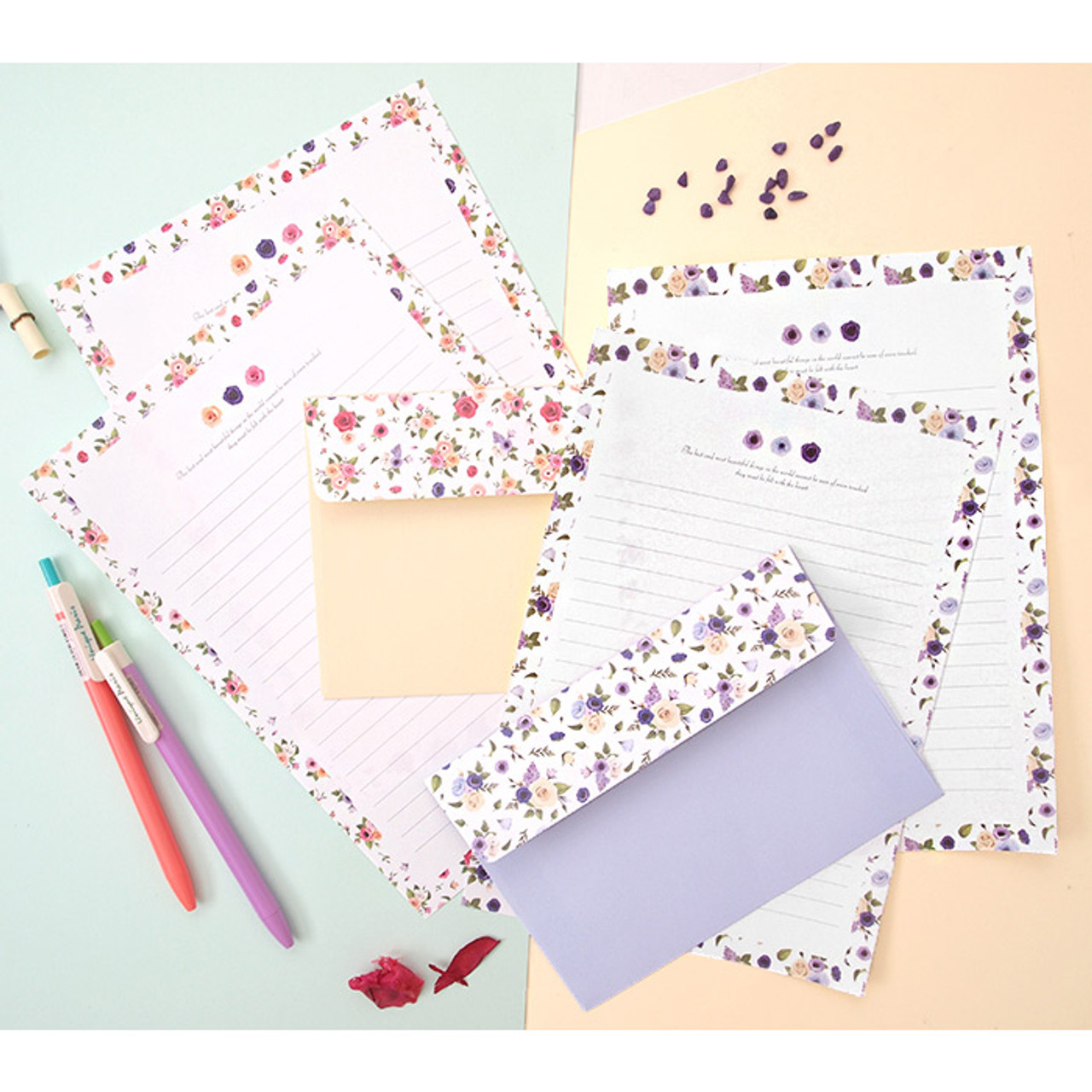 2young flower pattern pastel letter paper and envelope set