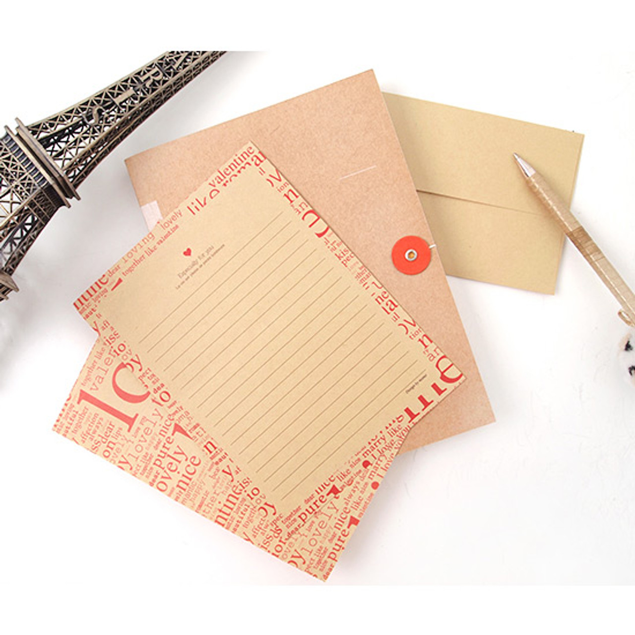 2young especially for you kraft letter paper and envelope set