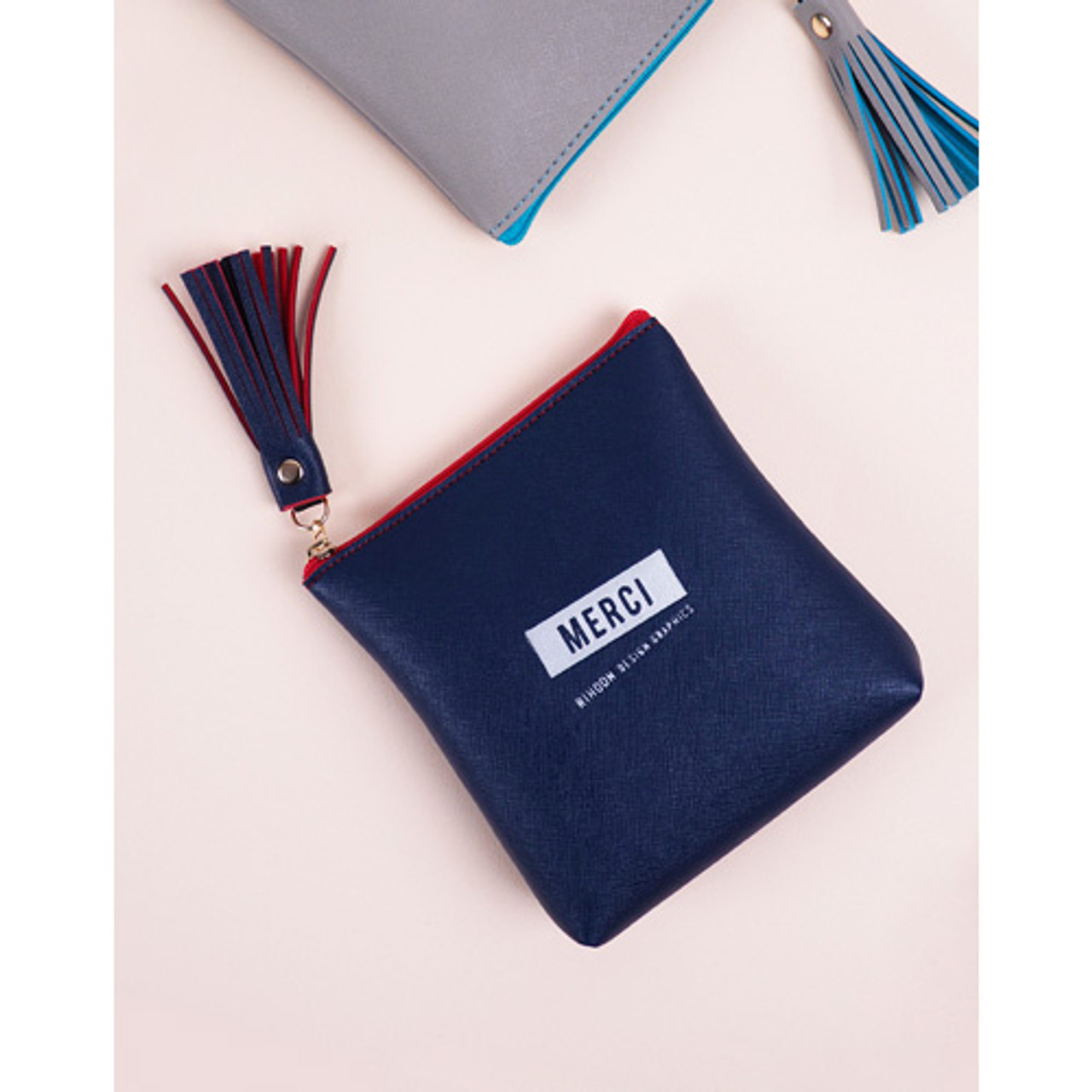 Rihoon Merci tassel zipper small pouch