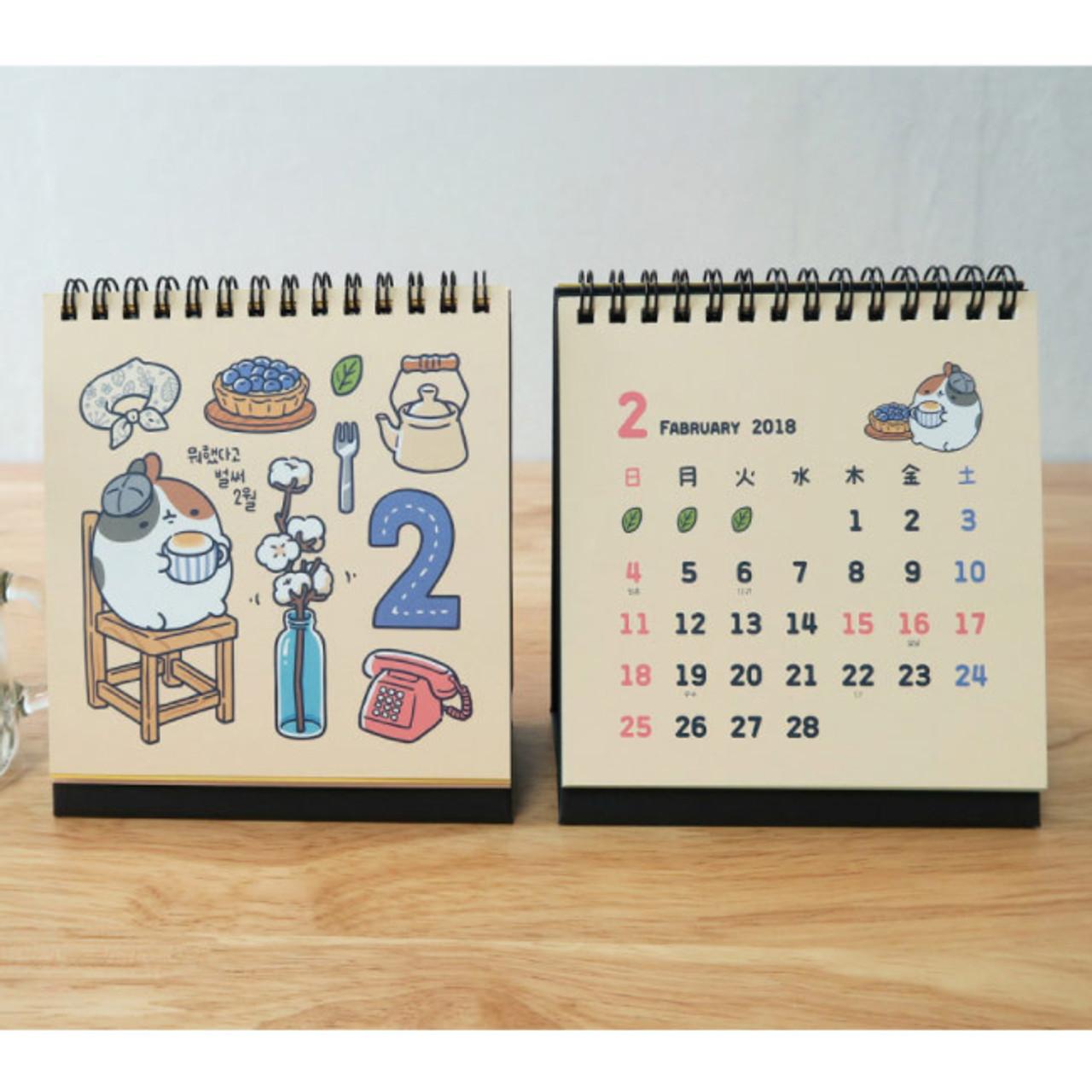 2018 Molang Ilration Spiral Bound Small Desk Calendar
