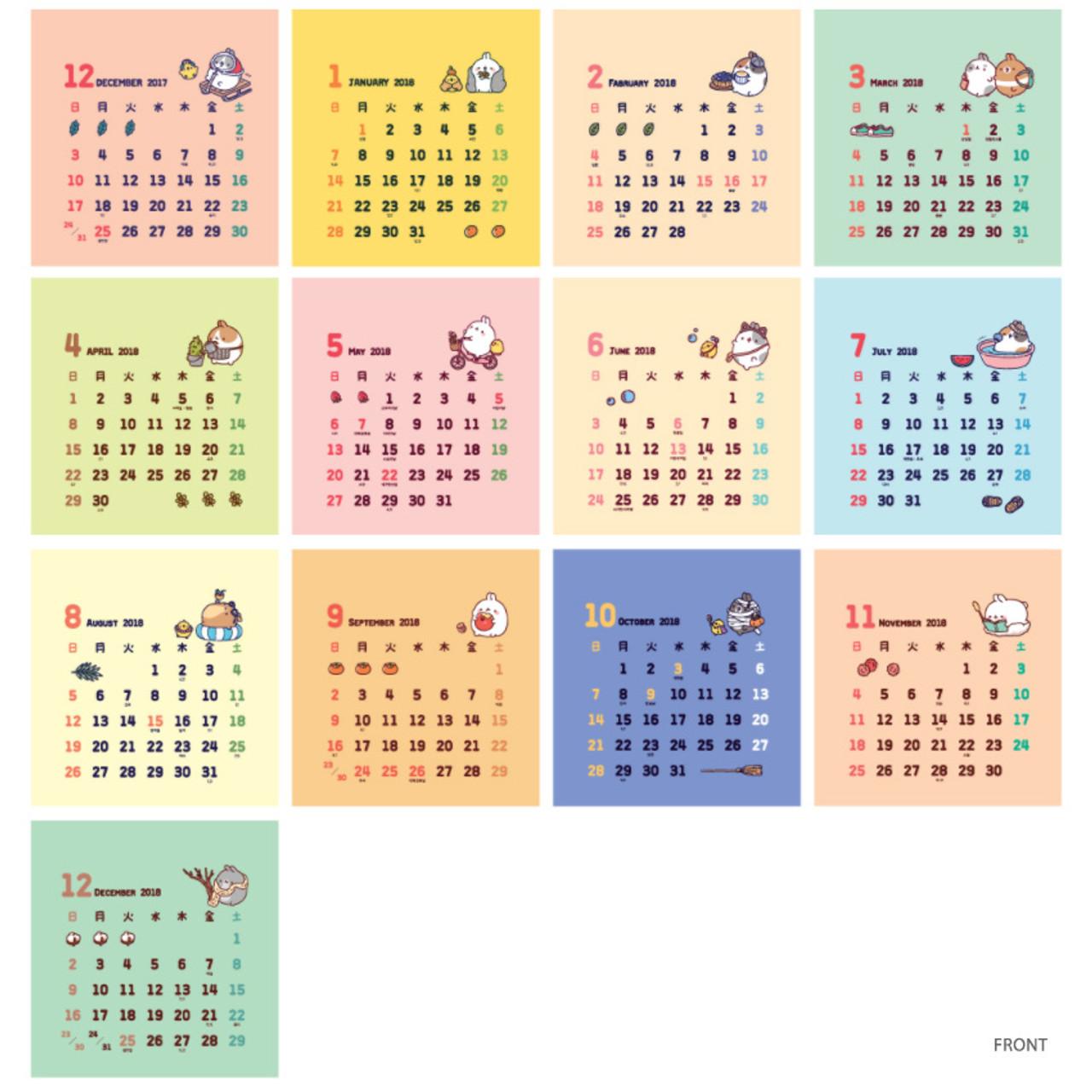 Front 2018 Molang Ilration Small Desk Calendar