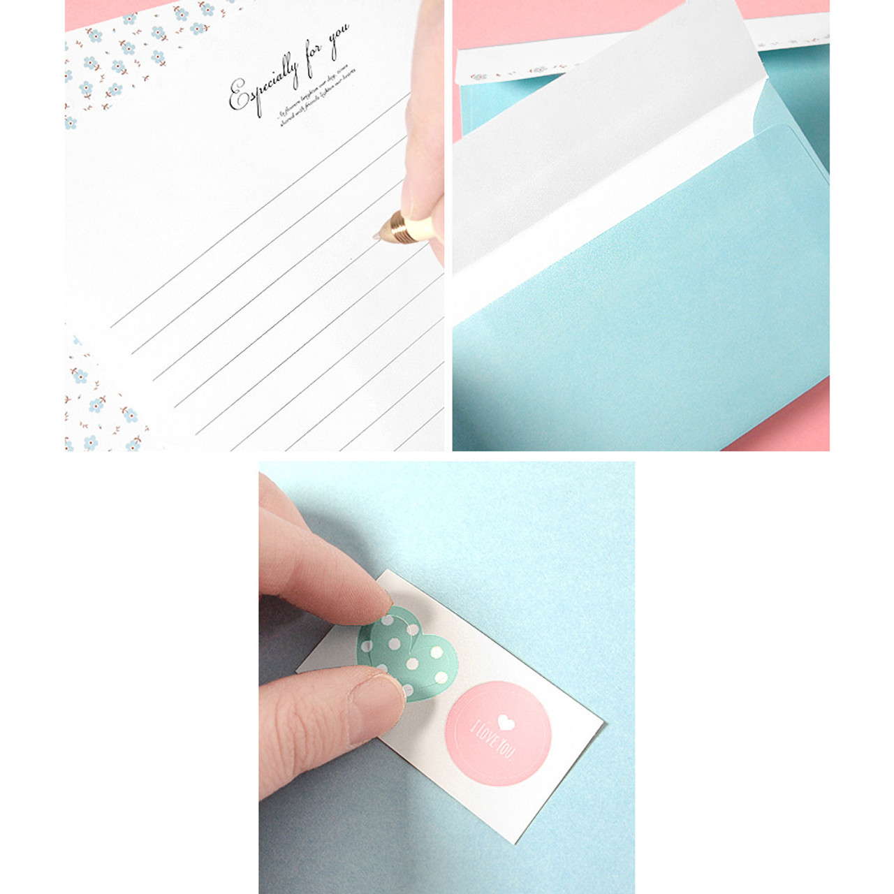 2young soft flower pattern letter paper and envelope set