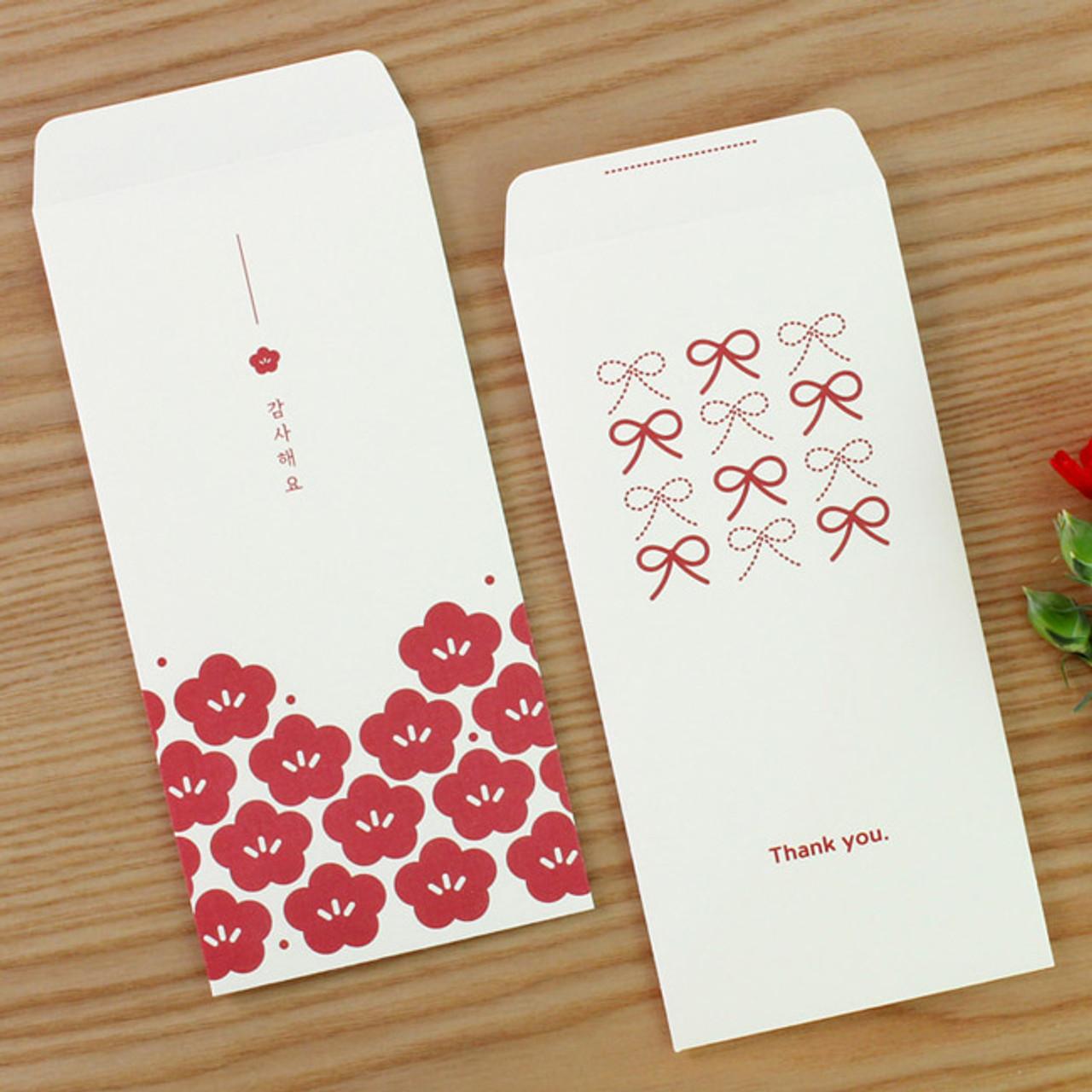 dash and dot blossom ribbon thank you envelope set fallindesign