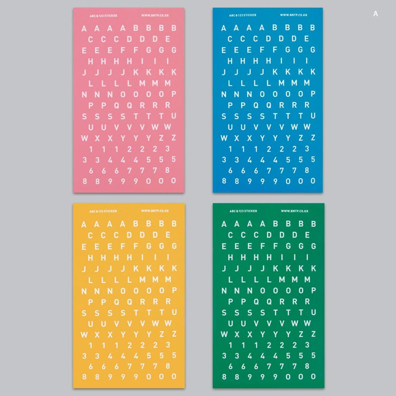 BNTP Alphabet and Number paper sticker set - fallindesign