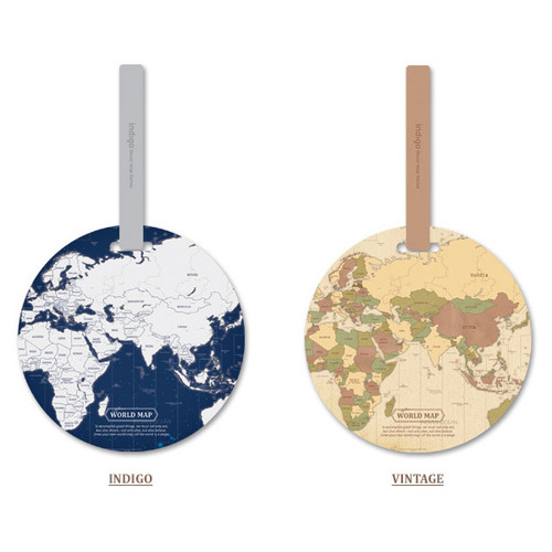 Indigo world map travel luggage name tag fallindesign indigo vintage gumiabroncs Gallery