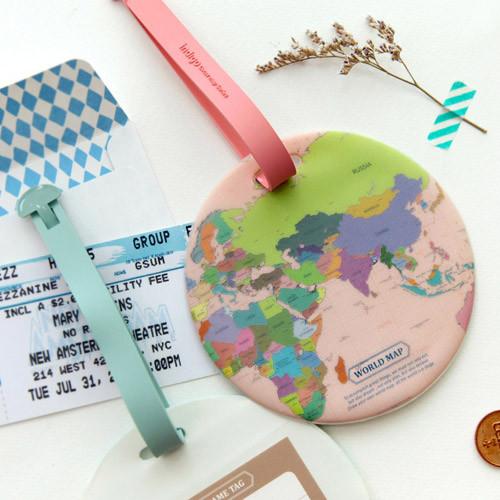 Indigo world map travel luggage name tag fallindesign colorful world map travel luggage name tag gumiabroncs Gallery