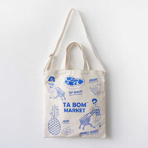 Tabom market blue tote shoulder bag