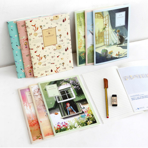 Cute illustration school lined notebook