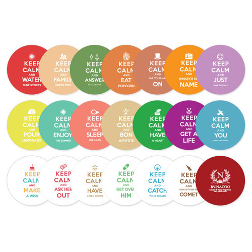 Nacoo Keep Calm And Carry On Circle Sticker Set With Tin Case