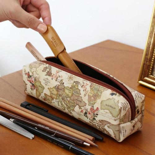 Indigo world map pattern zipper pencil case fallindesign antique world map pattern zipper pencil case gumiabroncs Gallery