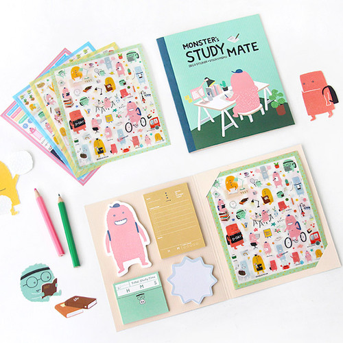 Monsters study deco stickers and sticky notes set