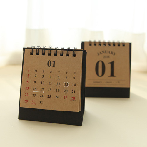 2018 Classic small spiral bound kraft paper desk calendar