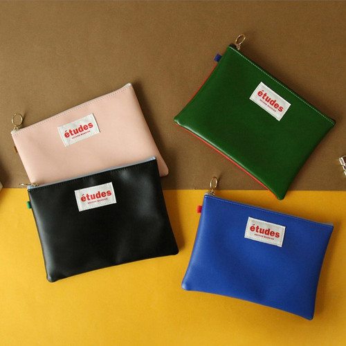 Etudes two tone color medium zipper pouch