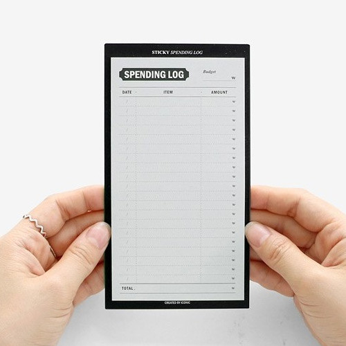 Spending log expense tracker sticky notepad