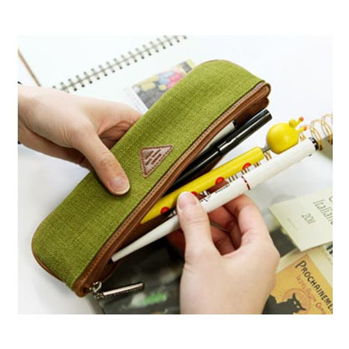 Skinny Pencil Case High Quality Long Pencil Pouch Olive