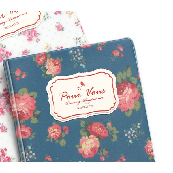 Wanna This Pour Vous Flower Pattern Passport Cover
