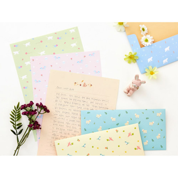 ardium cute animal letter paper and envelope set fallindesign