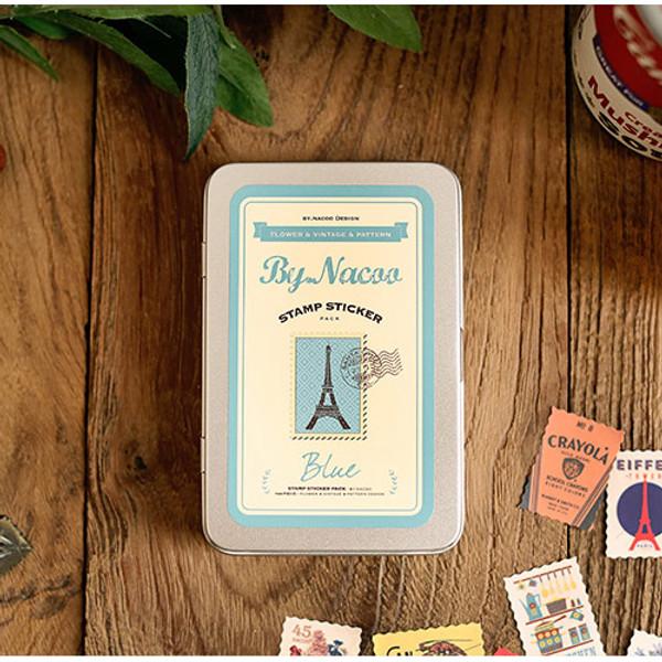 Nacoo Stamp Sticker Set With Blue Tin Case Fallindesign