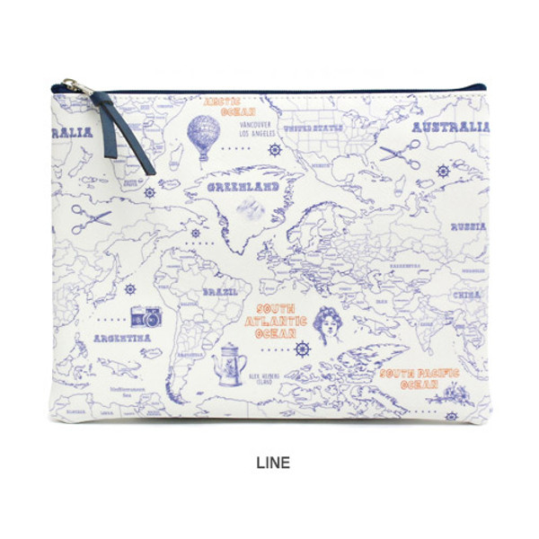 Indigo world map pattern zipper pouch l fallindesign line world map pattern zipper pouch gumiabroncs Gallery