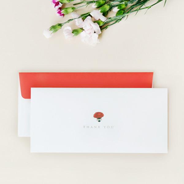 gyou carnation thank you envelope set