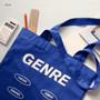 Blue - Even odds cotton shoulder tote bag