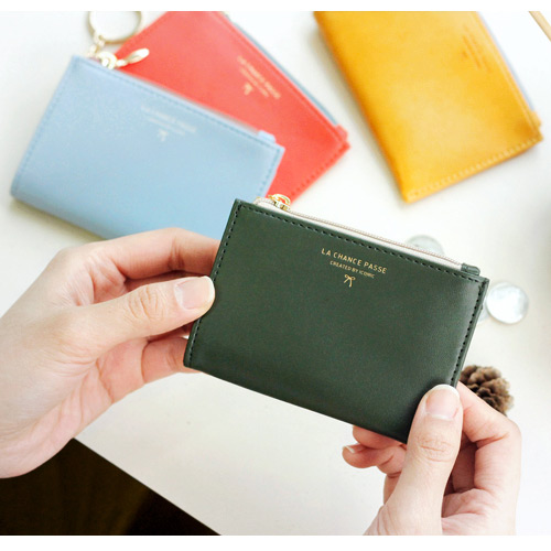 iconic coin card zipper wallet holder with key ring ver2 - Card Holder With Keyring