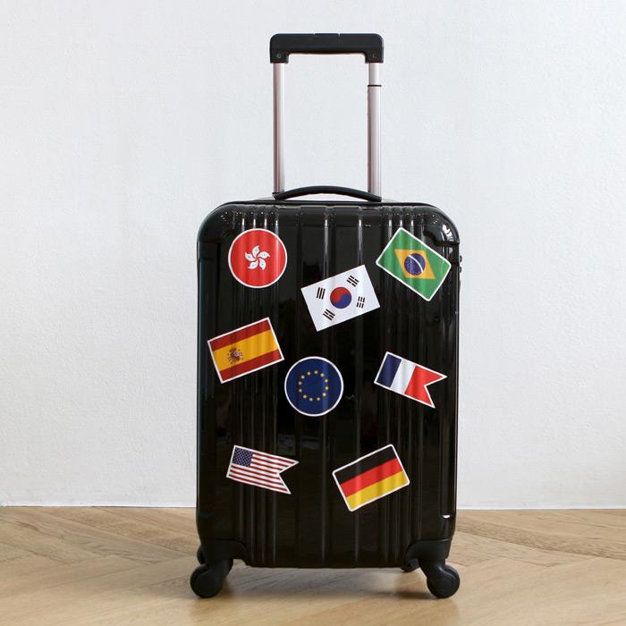 Indigo flag pvc point sticker water resistant luggage sticker