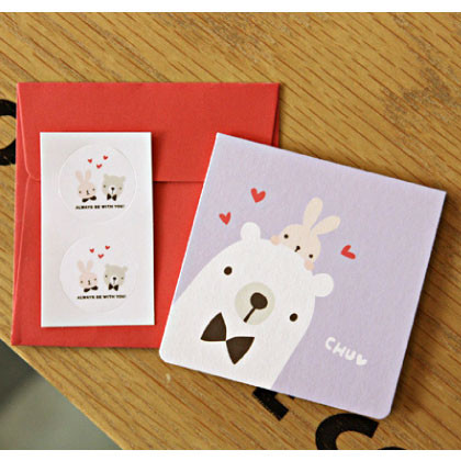 cute mini bear and rabbit card with envelope and deco sticker