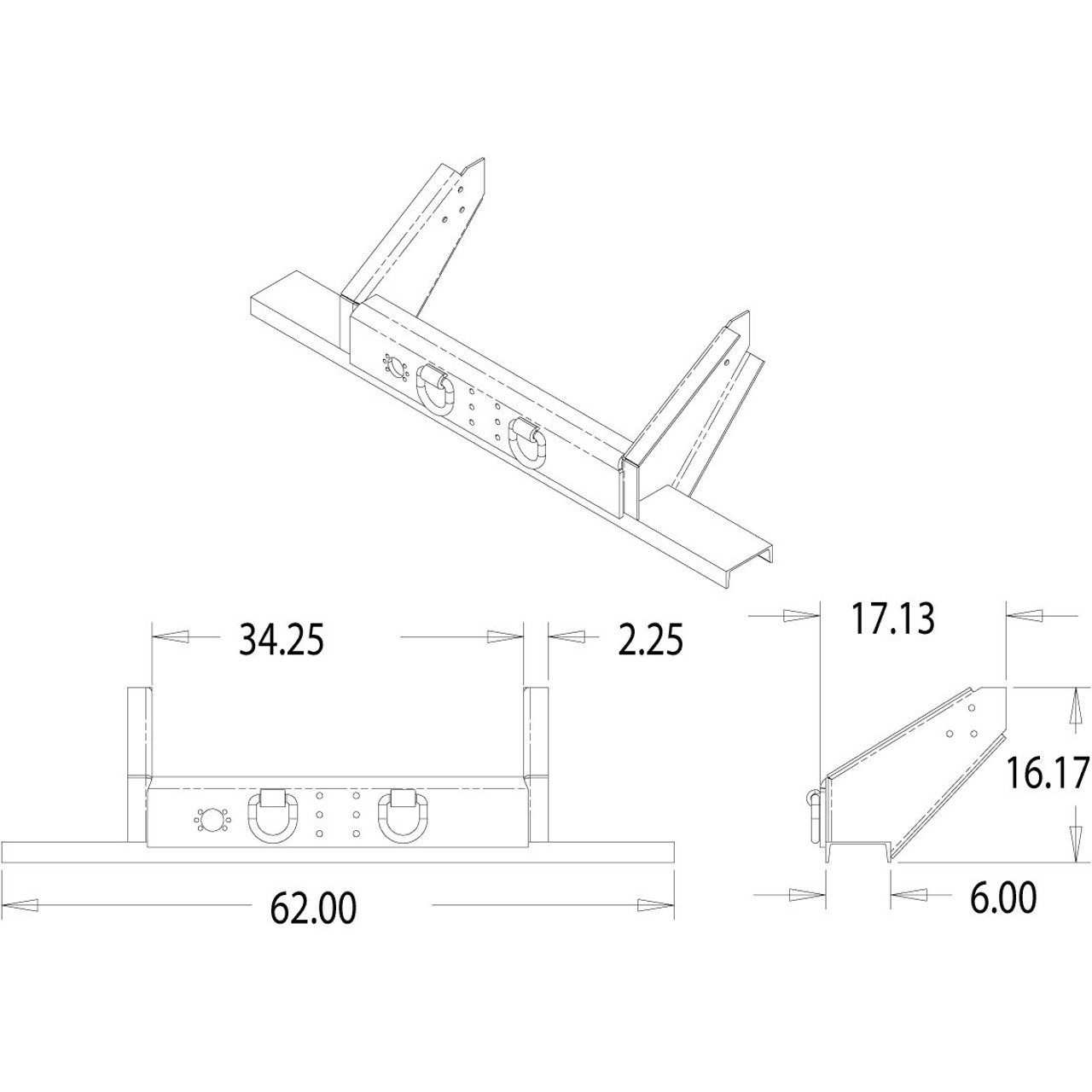 1809050 Flatbed Dump Hitch Bumper With Pintle Hook Mounting Ford F550 Truck Wiring Diagram Holes